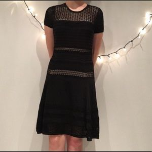 Diane Von Furstenburg Crochet Little Black Dress